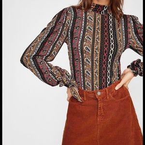 EUC Free People Paisley Jacquard Movk Neck Top